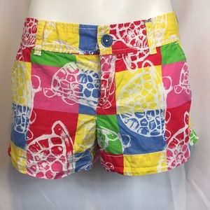 Lilly Pulitzer turtle patchwork shorts sz 2